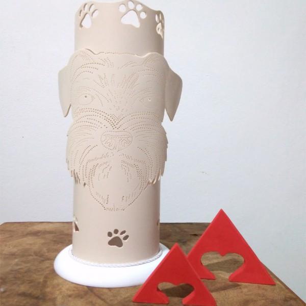 Luminaria Artesanal Em Pvc Cachorro Schnauzer
